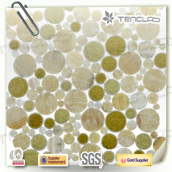 New arrival mix round stone wall mosaic tile