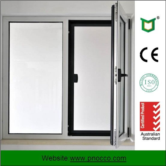 Morden Aluminum Casement Window With Blinds Inside , American style Chain swing casement windows PNOC0435THW