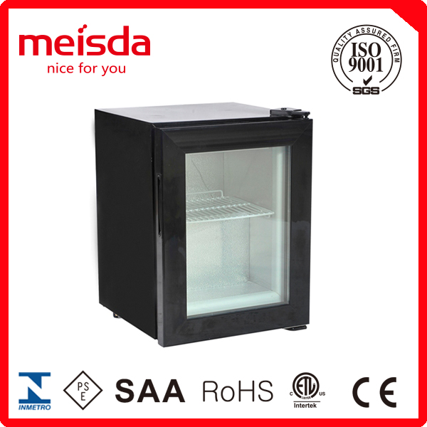 21L mini dispaly freezer counter top refrigerator with glass door