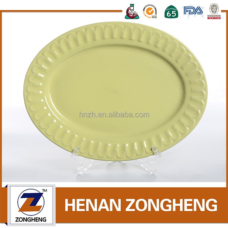Cheap wholesale customized embossing oval fish stoneware plates