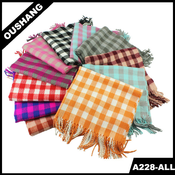 A228-A yarn dyed long tartan shawl lady jacquard scarf