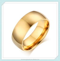 Shuisheng Brand Mirror polish high quality stainless steel simple gold ring designs for men
