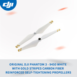 Original DJI Phantom 3 - 9450 white with gold stripes Carbon Fiber Reinforced Self-tightening Propellers