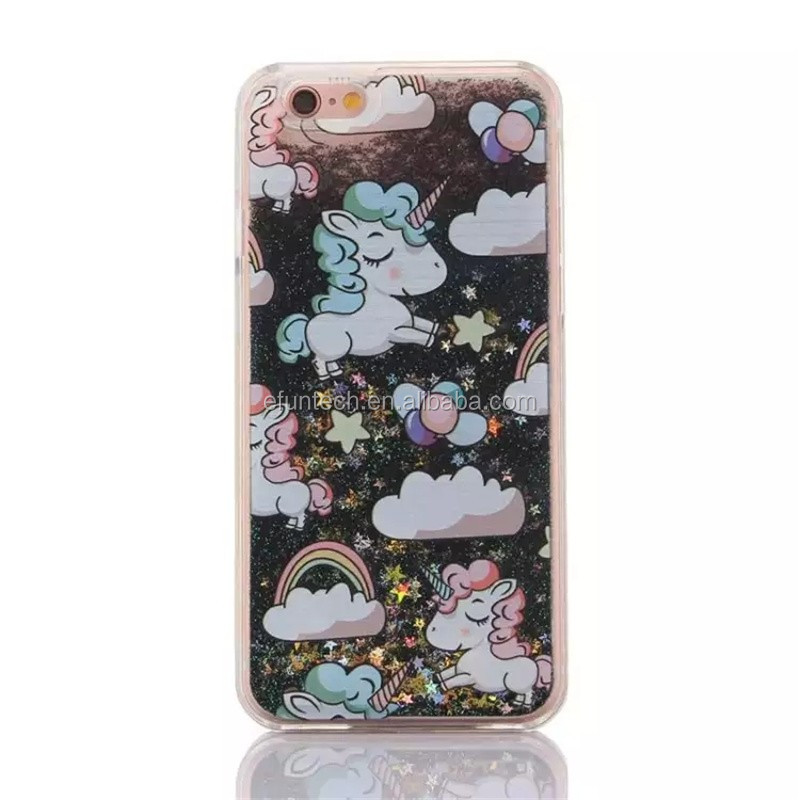 Alibaba top selling plastic glitter unicorn quicksand mobile phone cover for iphone 7 7plus 5 5s SE case