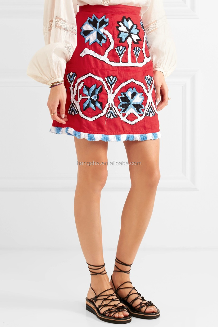 Boho Clothing Vyshyvanka Floral Motif Mexican Embroidered Linen Mini Short Skirs No Underwear HSD5705