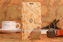 2014 New World Map Design Flip Stand Credit Card Slot Leather Stent Cover Cases For Samsung Galaxy S5