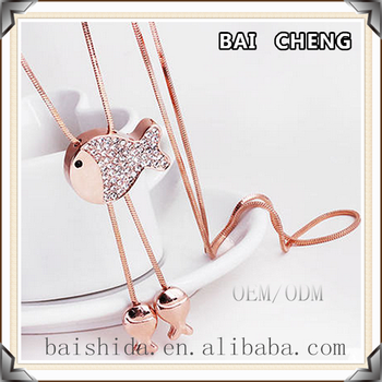 Wholesale Price Rose gold Fish shape pendant with Long chain Necklace for unisex