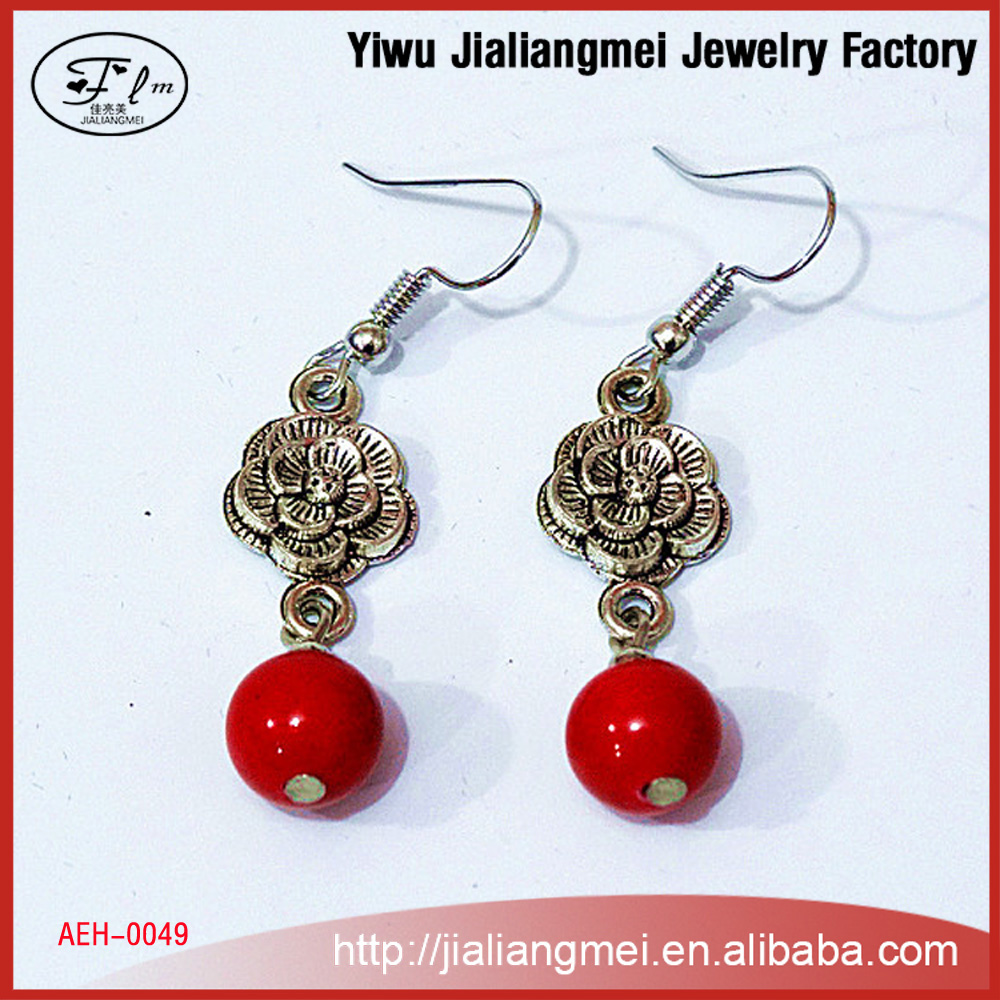 Ethnic jewelry turquoise earrings plum Nepal handmade jewelry original YIWU factory wholesale for OEM / ODM