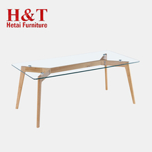 Antique Rustic Home Furniture Wood Coffee Table Modern Glass Top With Oak Legs Coffee Table - 9754