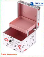 Rectangle white with lips hard side cosmetic case aluminum storage box with tray