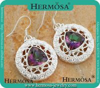 Hermosa HOT Rare Triangle Design 925 Sterling Silver Rianbow FIRE Mystical Topaz Jewelry Earrings