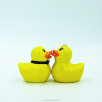 wedding favor yellow ceramic duck salt and pepper shakers