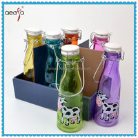 glass water bottle glass milk bottle with color printing