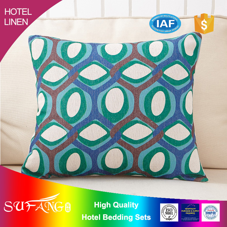 Hotel linen/luxury high quality printing cushion with illustration