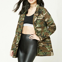 hot selling woman hidden button front camo print padded army casual jacket for wholesale