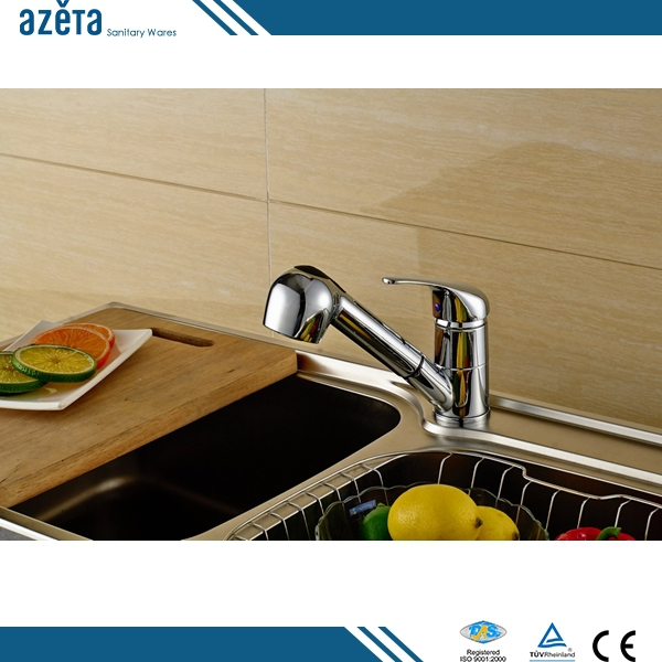 Economic Single Handle Chrome Brass Pull Out Kitchen Mixer