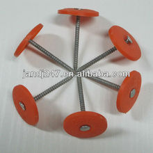 Orange Color Flat Head Plastic Cap Nails with Factory Price