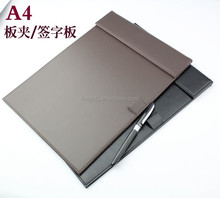 Factory customized Executive A4 pu leather Clip board , wordpad, Signature holder
