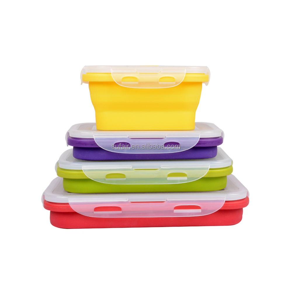 OEM Wholesale FDA LFGB standard Eco-Friendly silicone Folding lunch box