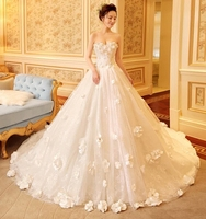 New Arrival Strapless Shiny Crystal Bridal Wedding Gowns Chapel Train Lace Appliqued Bride Dressing Wear Custom Wedding Dress
