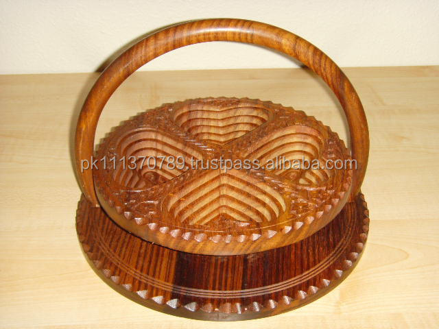 Decorated Wood basket