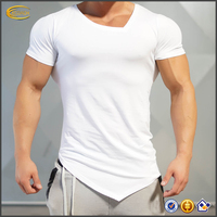 2017 NEW Fashion Men's Tight Fitted Asymmetric V-Neck Short Sleeve T Shirt for Fitness Gym Wear