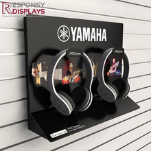 Cool style all back Counter Custom logo printed acrylic smart earphone display rack