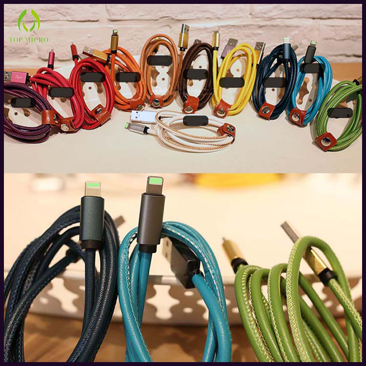 New Design Quick Charge Leather Shell Data Line for iPhone USB Charger Cable