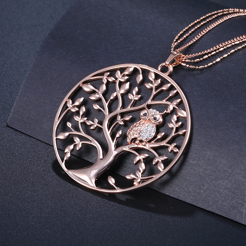 Hot Tree of Life Crystal Round Small Pendant Necklace Gold Silver Colors Bijoux Collier Elegant Women Jewelry <strong>Gifts</strong> Dropshipping