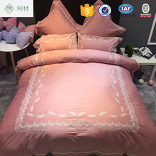 100% Cotton fantasy pink feather bedding for adult bed linen set
