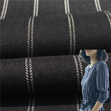 New Fashion Polyester Rayon 160D*160D Herringbone Style 20MM White Stripe Fabric Men Suit Women Dress Cloth