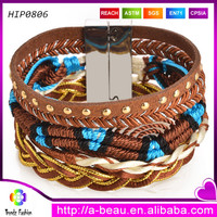 Magnetic stacked bracelets with braided cord pattern handmade.