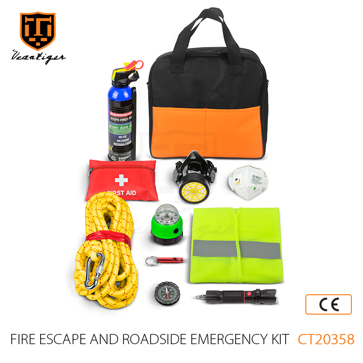11 pcs Fire Extinguish Excape and Dust Mask Safety Roadside Assistance Car Emergency Kit