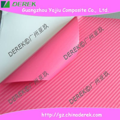 Best-selling Pink 3D Carbon Fiber Vinyl Wrap Film without Air Free Channel