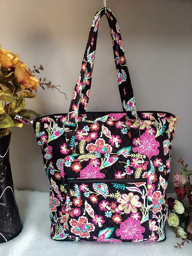 ECO-FRIENDLY QUILTED COTTON POLYESTER FABRIC ZIP POCKET TOTE BAG HANDBAG
