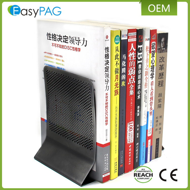 Wholesale custom punching hole meshes L shape letter metal library bookend