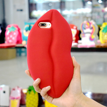 Custom Silicone Phone Case Big Red Lips Girl'S Cute Cell Phone Back Cover For 5.5 Inch Smartphone Case