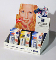 nivea lipstick care corrugated paper counter display