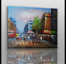 Paris street scene oil painting on canvas painting stand
