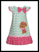 2016 young girls party dresses yawoo design girls chevron dog embroidery kids pillowcase girls dresses