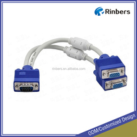 Factory Price 1 Male to 2 Female High Resolution Monitor Y Splitter VGA Cable