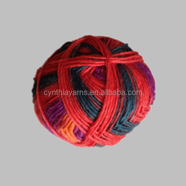 100% knitting merino wool thick and thin yarns multicolor