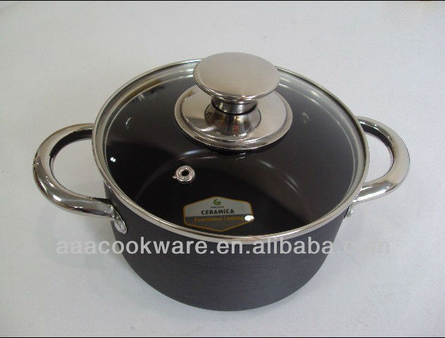 Hollow Handle and Hard Anodized Aluminium Casserole with Ceramic coating inside