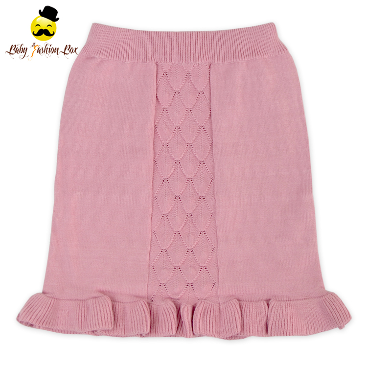 Korean Children Outside Wear Plain Pink Warm Knitting Thick Dress Four Pieces Baby Girl Sweater Skirt Suit Set