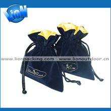 High quality christmas jewelry gift satin velvet drawstring pouch bags