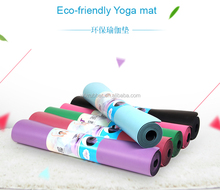Laser engraving printed anti slip PU leather top 100% natural rubber backing yoga mat