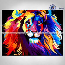 Wholesale New Design Unique Animal Pop Art Handmade Modern Abstract Lion Oil Paintings on Canvas