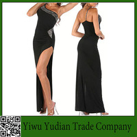 Latin Ballroom Dancing Dress Oblique Shoulder Dress Costumes Diamond Length Dress