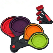 Amazon Best Selling Colorful Collapsible Silicone Measuring Cups And Spoon Set
