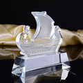 Fashion design k9 clear sailing trophy boat crystal award